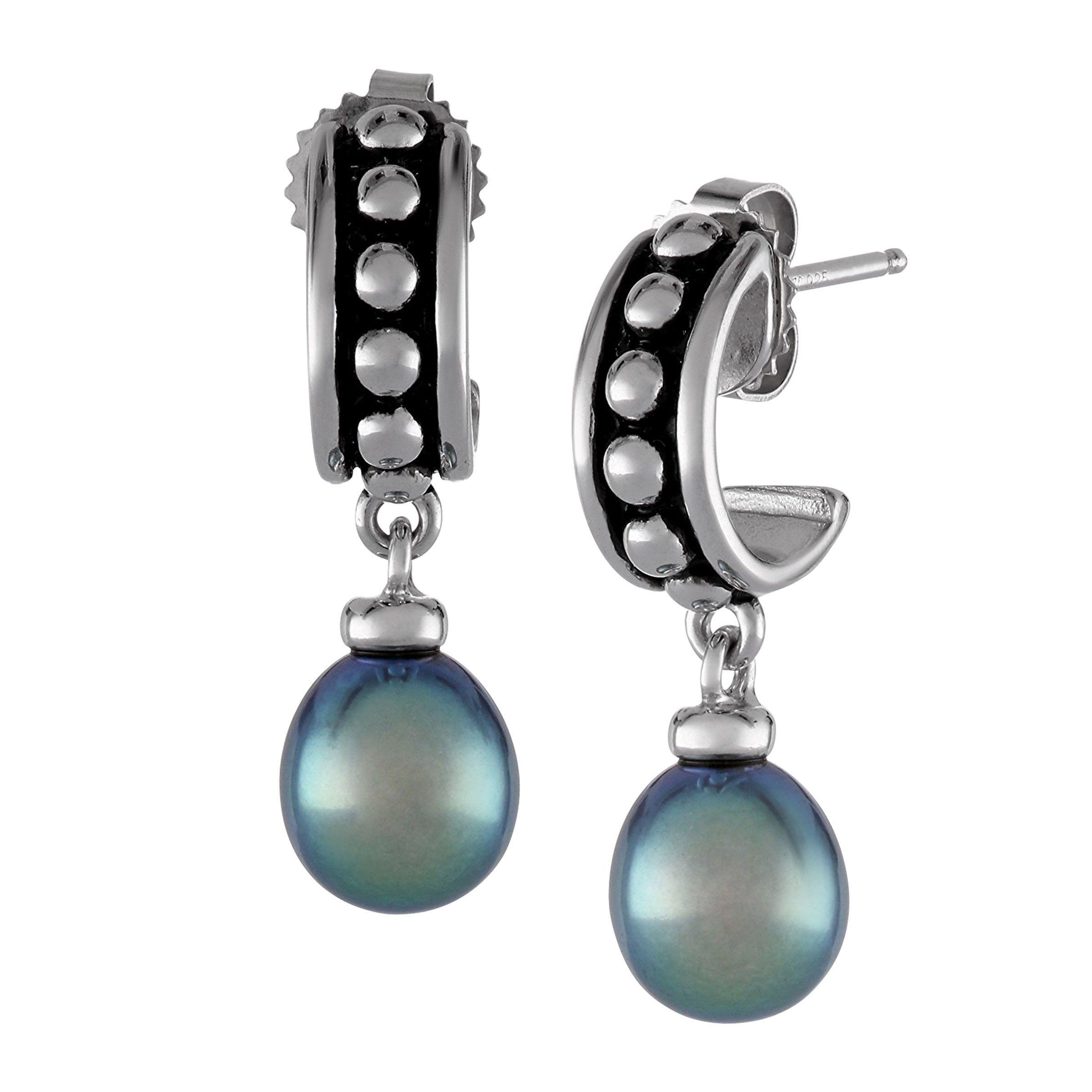 Honora 8 5 Mm Black Freshwater Pearl Drop Hoop Earrings In Sterling Silver