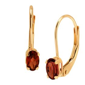 3/8 ct Garnet Drop Leverback Earrings