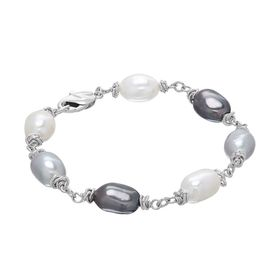 9-10 mm Black, Grey, & White Pearl Color Crush Bracelet