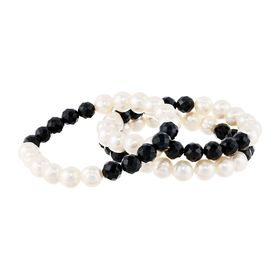 8 mm Onyx & 9-10 mm Pearl Stacking Stretch Bracelets