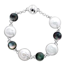 Coin Pearl & Black Mother-of-Pearl Doublet Bracelet