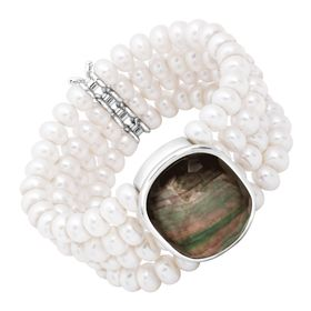 4-Row Pearl & Mother-of-Pearl Doublet Bracelet