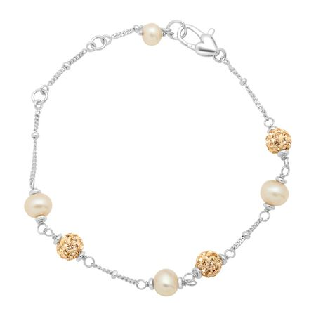 Girl's Champagne Pearl Bracelet with Crystals