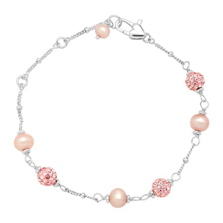 Girl's Pink Pearl Bracelet with Crystals