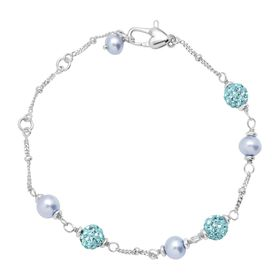 Girl's Blue Pearl Bracelet with Crystals