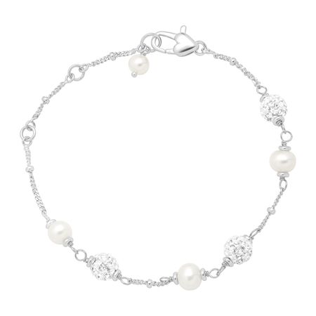 Girl's White Pearl Bracelet with Crystals
