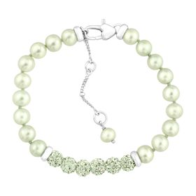 Girl's Green Pearl Bracelet with Swarovski Crystals