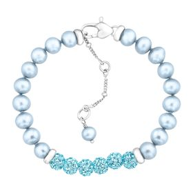 Girl's Blue Pearl Bracelet with Swarovski Crystals