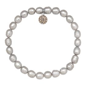 6-7 mm Grey Ringed Pearl Bracelet with Crystals