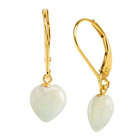 Jadeite Puffed Heart Drop Earrings