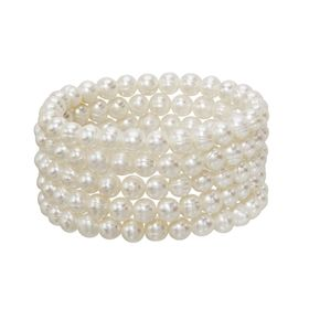 7-8 mm Pearl Stretch Bracelets, Set of 5