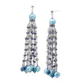 Teal Pearl Tassel Drop Earrings with Labradorite & Iolite