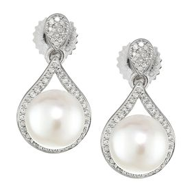 8-8.5 mm Pearl & 1/4 ct Diamond Teardrop Earrings