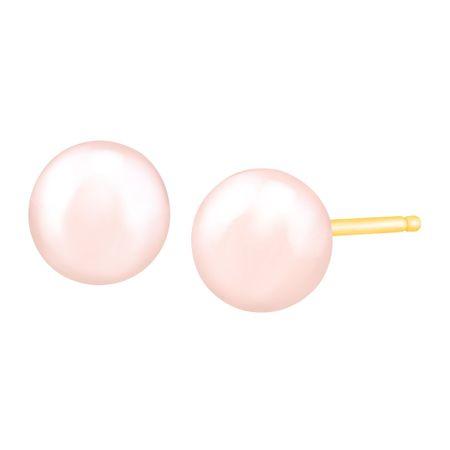 6 7mm Rose Pearl Stud Earrings