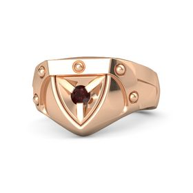 Men's 14K Rose Gold Ring with Red Garnet