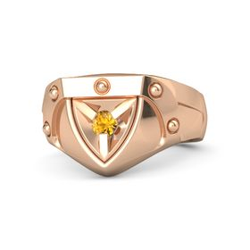 Men's 14K Rose Gold Ring with Citrine