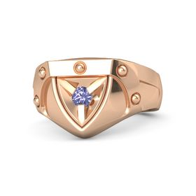 Men's 18K Rose Gold Ring with Tanzanite