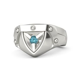 Men's 18K White Gold Ring with London Blue Topaz