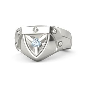 Men's Palladium Ring with Aquamarine
