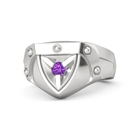 Men's Sterling Silver Ring with Amethyst