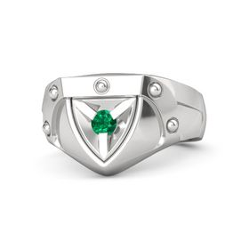Men's Sterling Silver Ring with Emerald