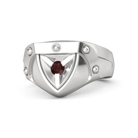 Men's Sterling Silver Ring with Red Garnet