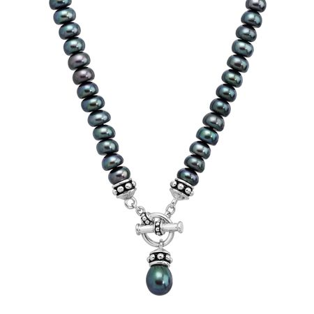 7.5-8 mm Black Pearl Toggle Necklace