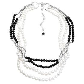 4-Strand Pearl & Onyx Bead Necklace