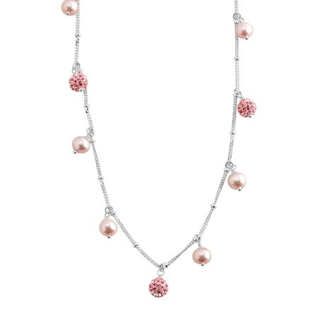 Girl's Light Pink Pearl Necklace with Pink Swarovski Crystals