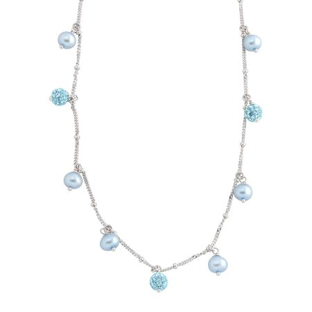 Girl's Light Blue Pearl Necklace with Blue Swarovski Crystals