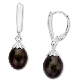 9-9.5mm Black Pearl Drop Earrings