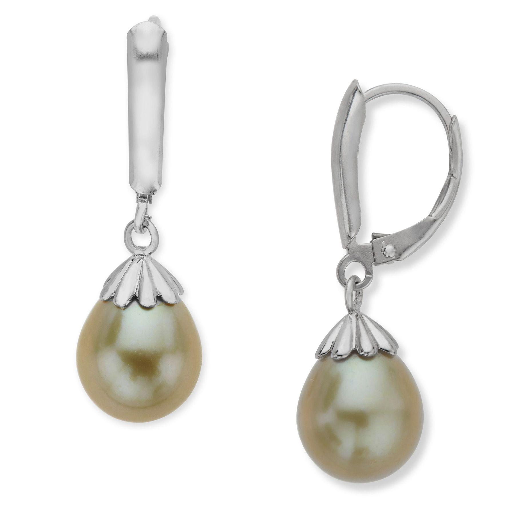 9 5mm Kiwi Pearl Drop Earrings
