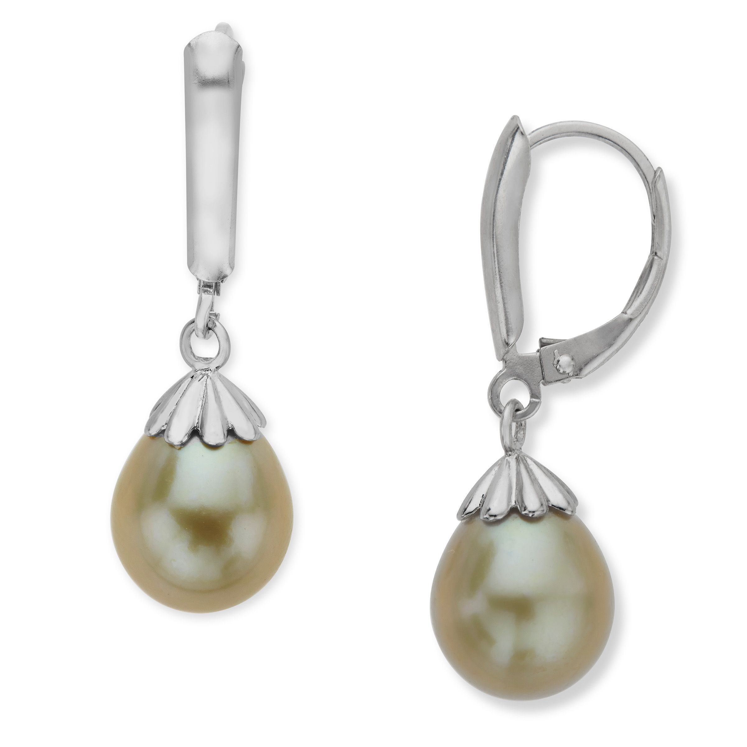 620827969 Details about Honora 9-9.5mm Kiwi Freshwater Pearl Drop Earrings in Sterling  Silver