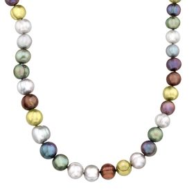 "16"" Multi-Color Graduating Ringed Pearl Strand Necklace"