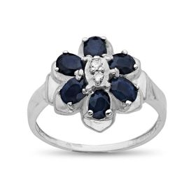 Sapphire Flower Ring with Diamonds