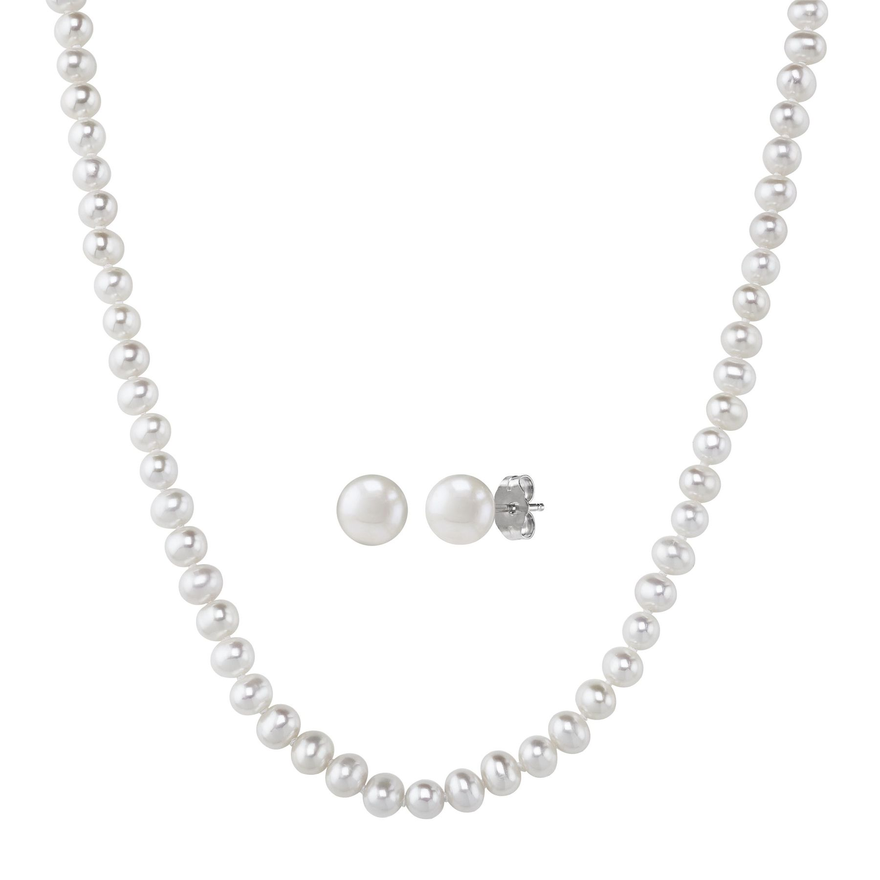 6 5 Mm 7 Pearl Necklace Earrings Set