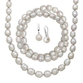 Grey Ringed Pearl Earring, Bracelets & Necklace Set
