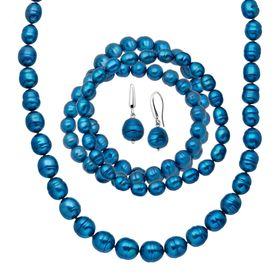Indigo Ringed Pearl Earring, Bracelets & Necklace Set