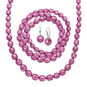 Fuchsia Ringed Pearl Earring, Bracelets & Necklace Set
