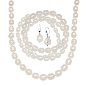 White Ringed Pearl Earring, Bracelets & Necklace Set