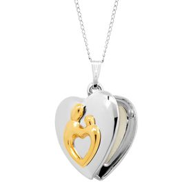 Two-Tone Mother & Child Heart Locket Pendant