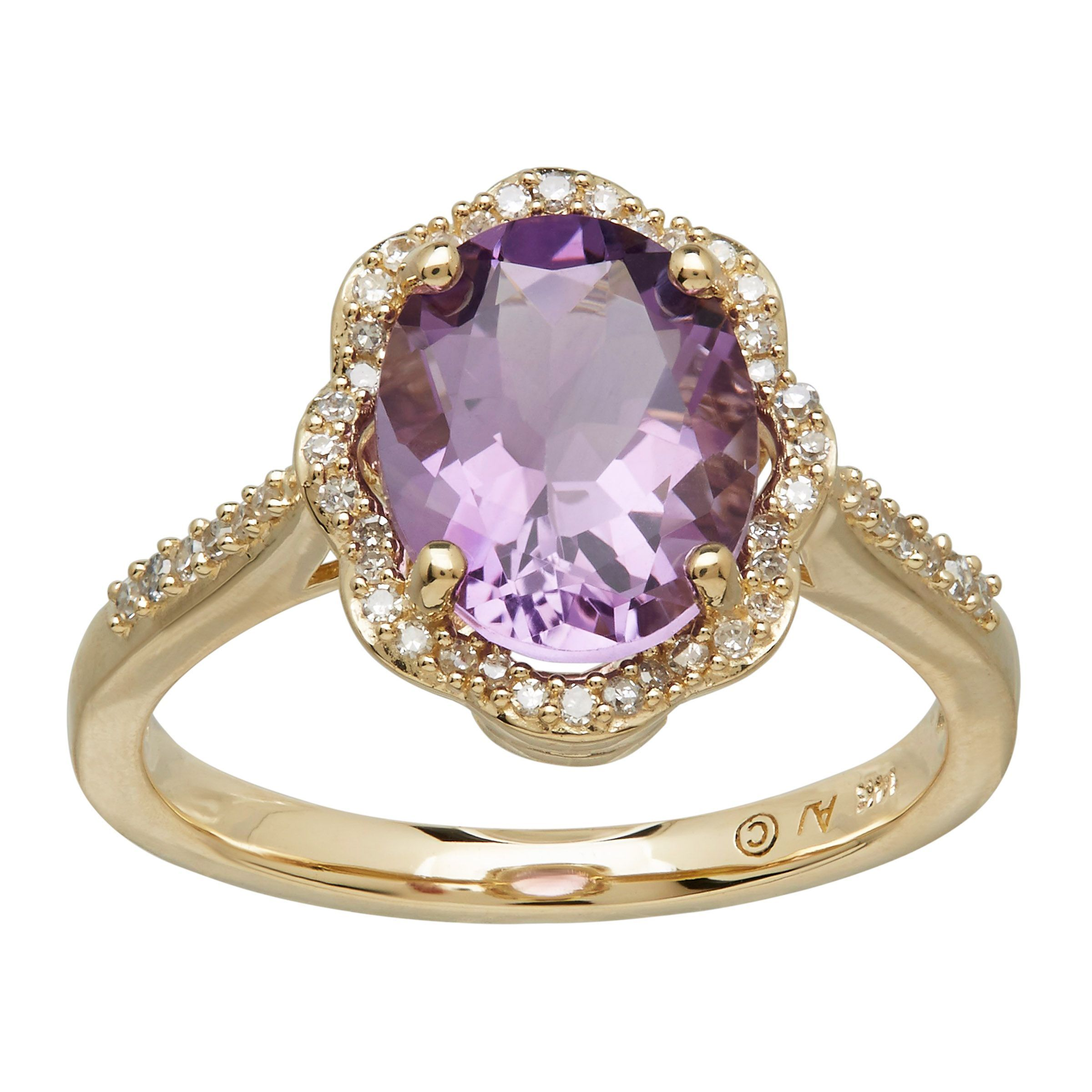 14k yellow gold amethyst and diamond scalloped ring