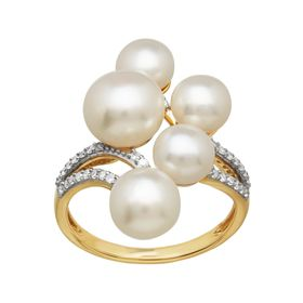 6-8 mm Pearl Ring with 1/6 ct Diamonds