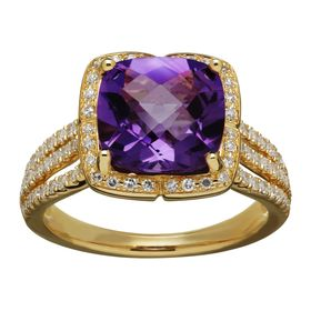 4 ct Amethyst & 5/8 ct Diamond Ring