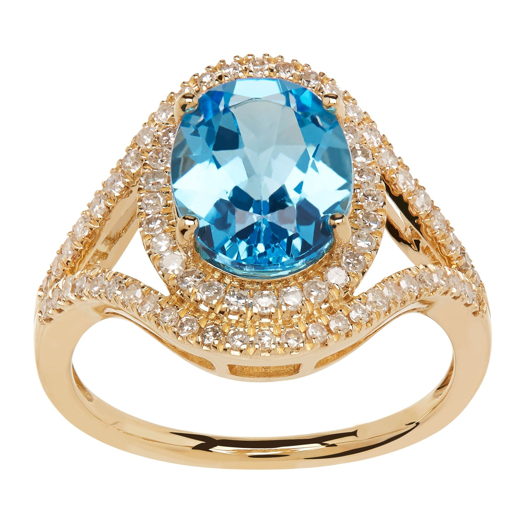 gold topaz ring diamonds blue with white diamond in