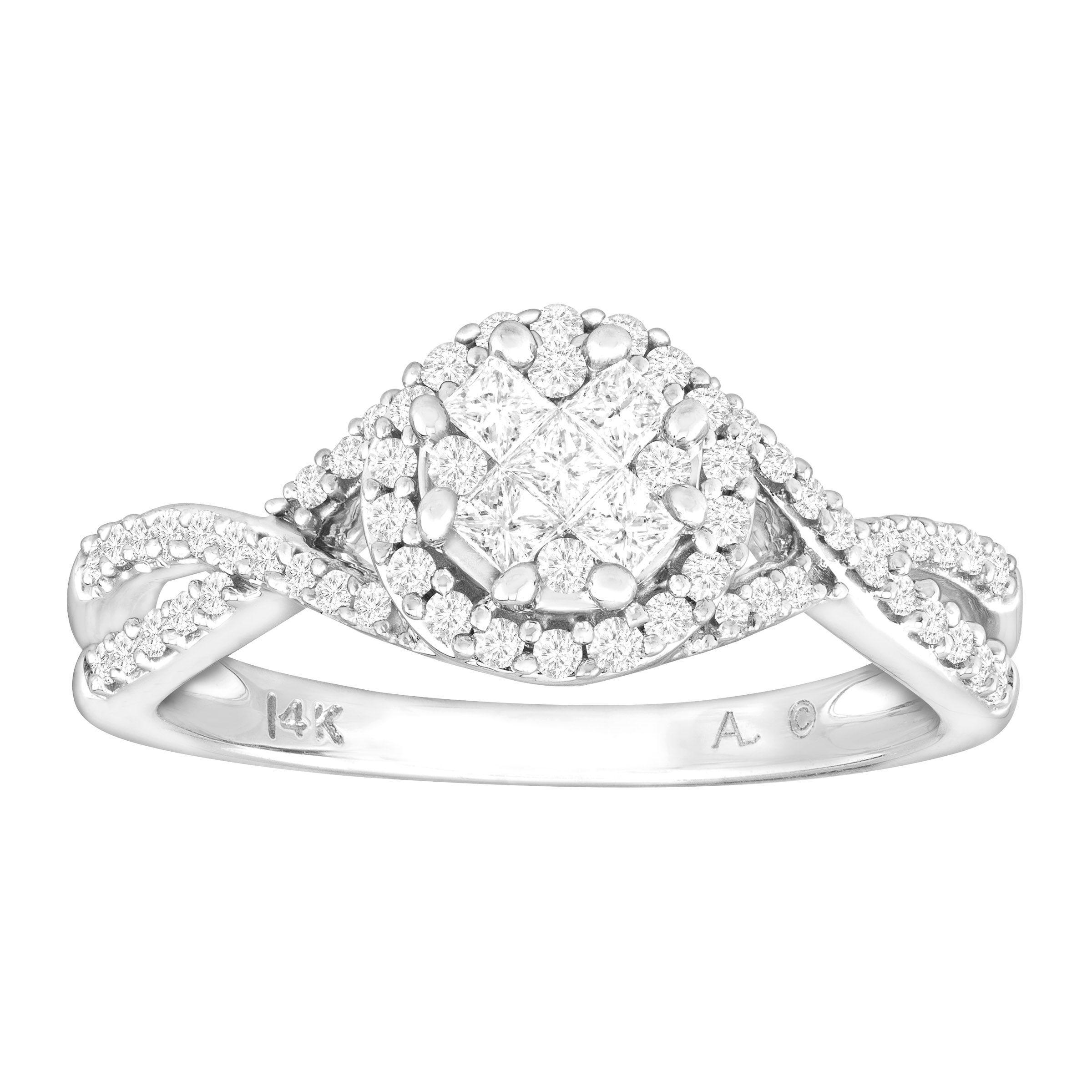 1 2 Ct Diamond Engagement Ring In 14k White Gold