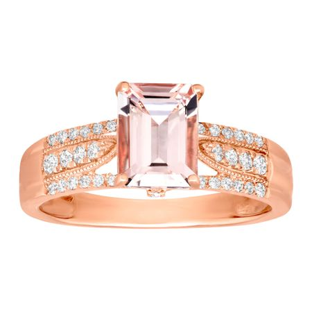 1 1/2 ct Morganite & 1/4 ct Diamond Ring