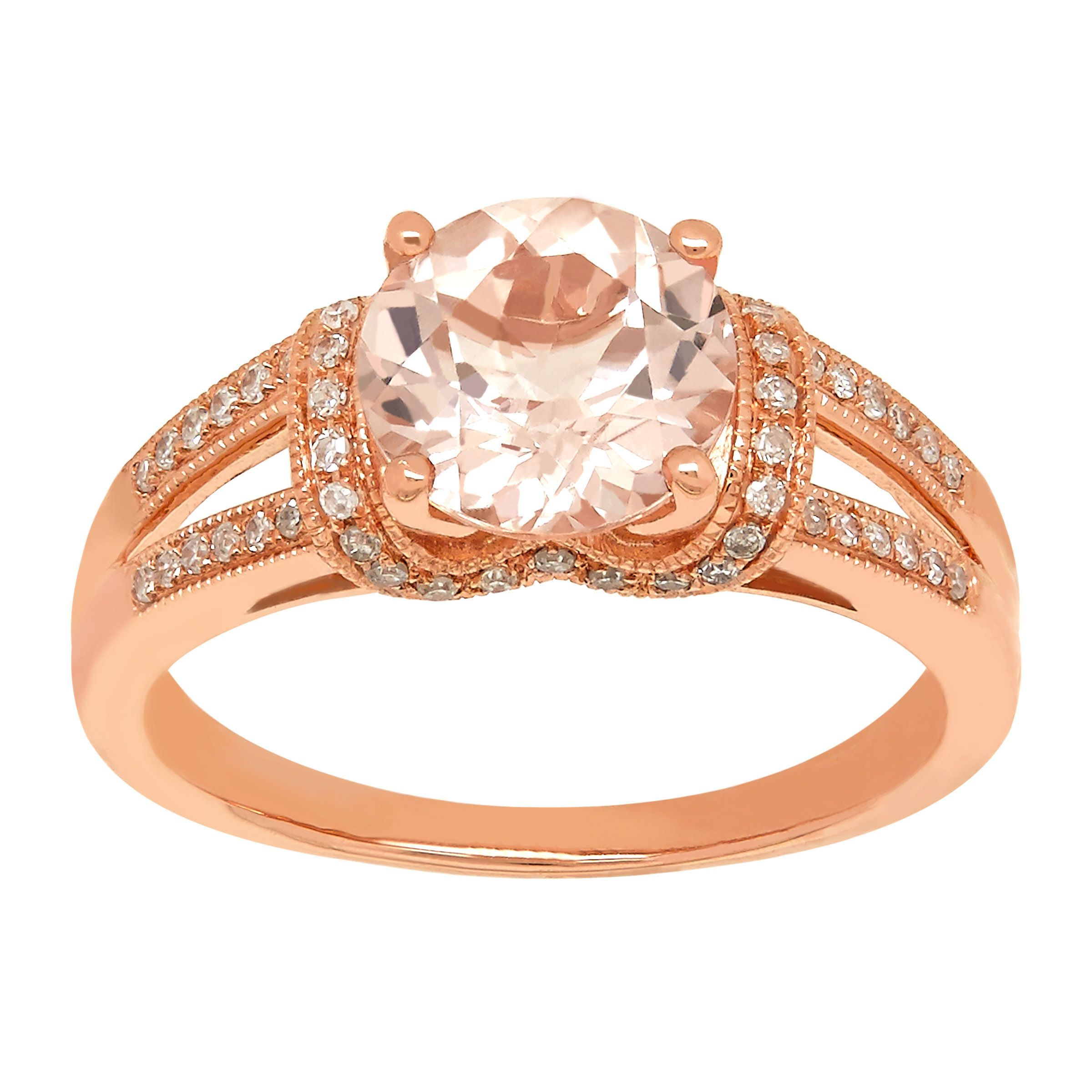 1 7 8 ct natural morganite 1 5 ct diamond ring in 14k. Black Bedroom Furniture Sets. Home Design Ideas