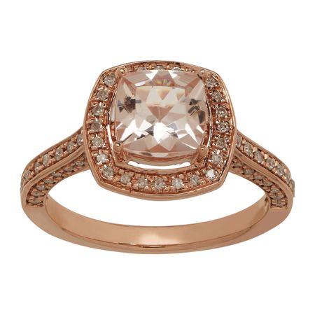 1 1/2 Morganite & 1/4 ct Diamond Ring