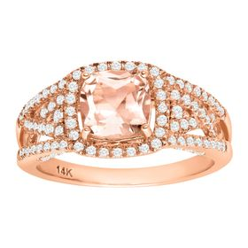 Morganite & 1/2 ct Diamond Ring